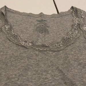 Faded Glory Tops - Gray lace neck tank top